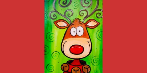 Paint and Sip Reindeer Pre-traced Canvas Party