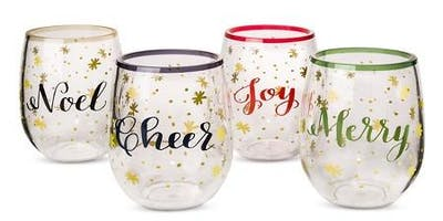 Holiday stemless wine glass decor &