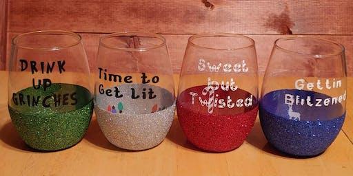 Make&Take Christmas Peek A Boo Wine Glasses in Wilmington IL