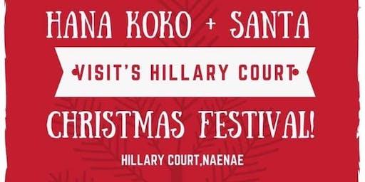 Hana Koko + Santa Visit Hillary Court!