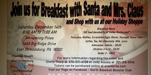 North Baseball Breakfast with Santa and Holiday Shoppe