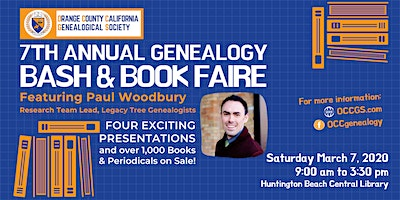 7th Annual OCCGS Genealogy BASH and Book Faire