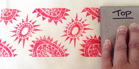 Lino Printing on to Fabric tickets