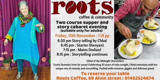 Two course supper and cabaret evening at Roots cafe, Gloucester