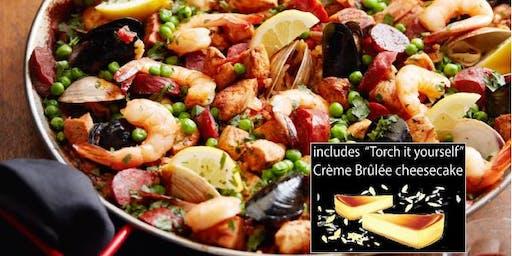 Date Night: PAELLA Cooking Class w. Sangria + take home broth + Dessert