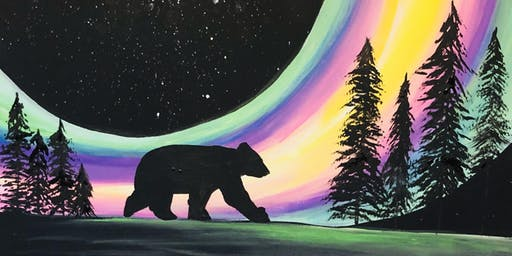 The Bear in the Northern Lights Paint & Sip