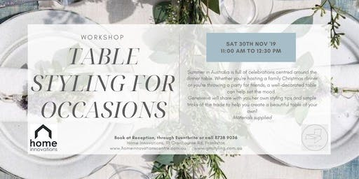 Table styling for occasions workshop