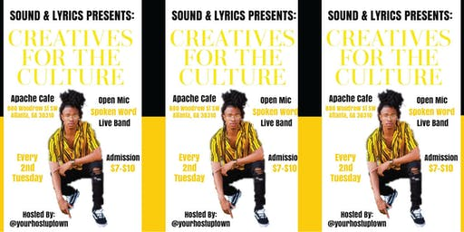 Sound & Lyrics All Genre Open Mic! **2nd Tuesdays hosted by @yourhostuptown