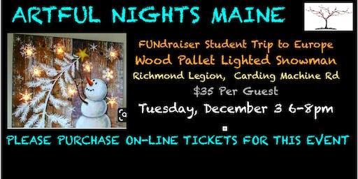 Wood Pallet Lighted Snowman FUNdraiser