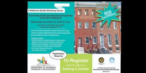 From Tax Sale to Public Auction...Baltimore Builds Workshop