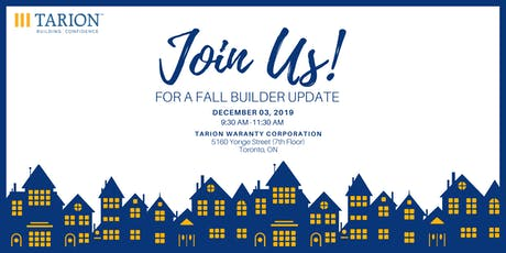 Fall 2019 Tarion Builder Update -Webcast tickets