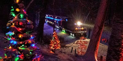Family Train Ride with Holiday Lights
