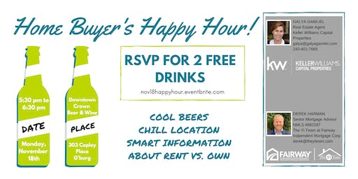 Home Buyer's Happy Hour! Rent vs. Own Questions Answered Over 2 Free Beers
