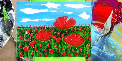 Playing With Knives Pallet Knife Painting Class and Craft Coffee - Poppies!
