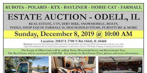 ESTATE AUCTION: Kubota 4x4 - Snowmobile - Dirt Bike - Boats - Shop Items