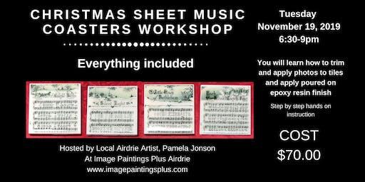 Christmas Sheet Music Resin Coasters