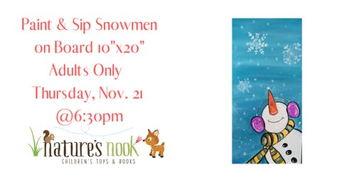 """Paint & Sip Snowman Looking Up on 10""""x20"""" Board"""