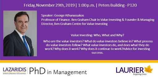Value Investing Seminar - Keynote Speaker: Professor George Athanassakos