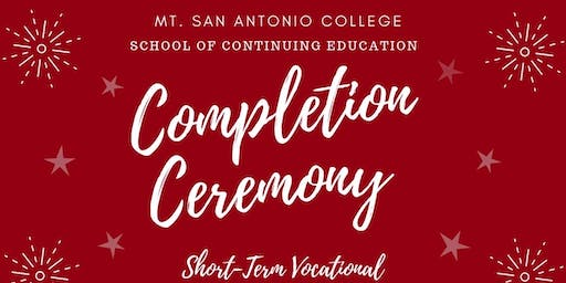 Short-Term Vocational Completion Ceremony Fall 2019
