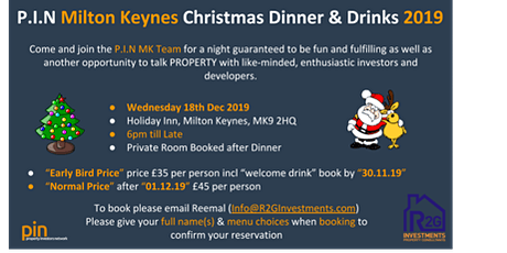 MK Property Investor Network - pin  - Christmas dinner social tickets