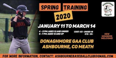Ashbourne Baseball Spring Training tickets