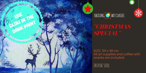 GLOW IN THE DARK- Christmas social painting workshop
