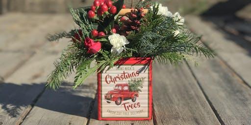 Vintage Fix Market Christmas Tree Tin  Flower Arrangement Workshop