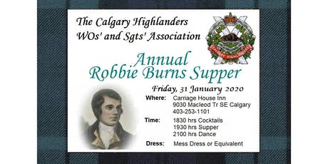 2020 Calgary Highlanders WOs' and Sgts' Association Robbie Burns Dinner tickets