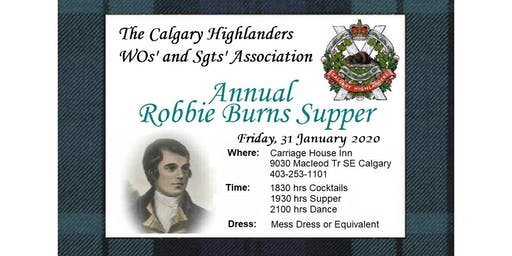 2020 Calgary Highlanders WOs' and Sgts' Association Robbie Burns Dinner