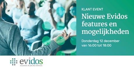 Evidos klantenevenement: Nieuwe Evidos features en mogelijkheden  tickets