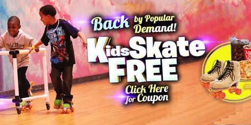 Kids Skate Free on Saturday 11/23/19 at `12pm (with this ticket)