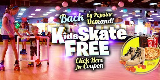 Kids Skate Free Sunday 11/17/19  at 12pm (with this ticket)