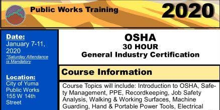 30 hour OSHA General Industry Certification- City of Yuma Public Works
