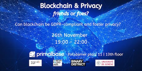 Blockchain and GDPR: Friends or Foes? tickets