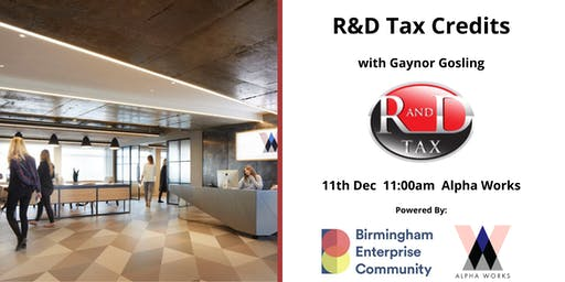Workshop Series: R&D Tax Credits with Gaynor Gosling