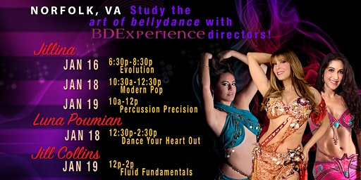 Jillina's BDEx Presents: Norfolk, VA Workshops with Jillina, Jill Collins & Luna