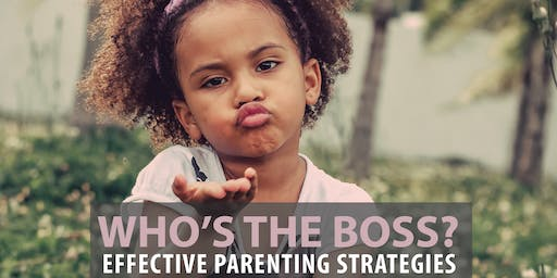 SCC Parent Education Series:  Who's the Boss?   Sat. Nov. 16 th  4-5pm