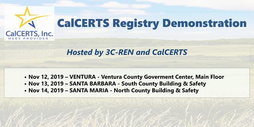 CANCELLED11.12.2019 CalCERTS Registry Demo VC for Building Department Staff