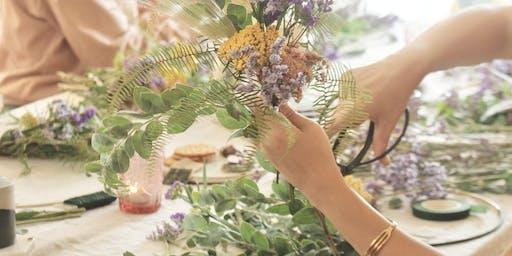 beloved one floral's table flower arrangement class