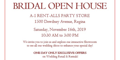 A-1 Rent-Alls Bridal Open House