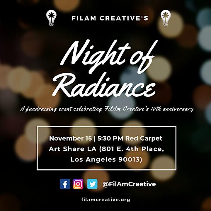 FilAm Creative's 10th Anniversary Fundraiser: Night of Radiance-regular tix image