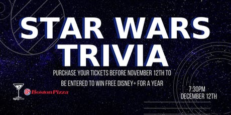 Star Wars Trivia - Dec 12, 7:30pm - YYC Boston Pizza North Hill Mall tickets