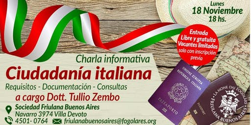 Charla explicativa sobre la Ciudadanía italiana - Dott. Tullio Zembo