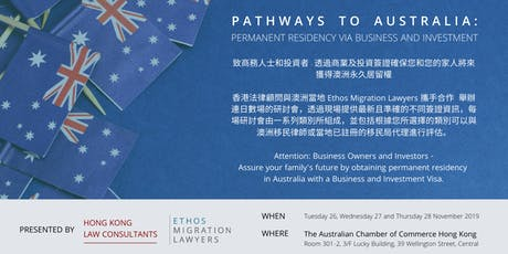 HK - Business & Investment Pathways to Australian Permanent Residency tickets