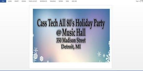 CASS TECH ALL 80'S HOLIDAY PARTY_2019_CTRC 1980 tickets