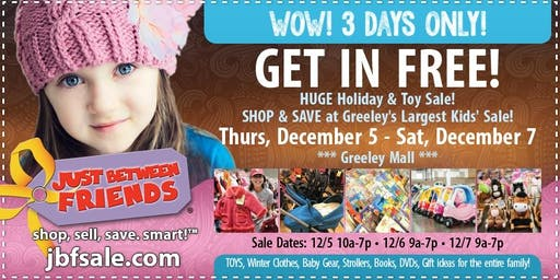 JBF Greeley Holiday & Toy Sale FREE Admission Pass