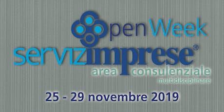 """""""Open Week"""" nuova area consulenziale multidisciplinare biglietti"""