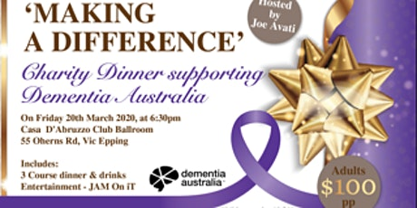 **POSTPONED** Charity Dinner supporting Dementia Australia tickets