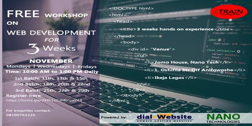 3 Weeks FREE Workshop on Web Development