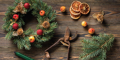 Traditional Christmas wreath-making